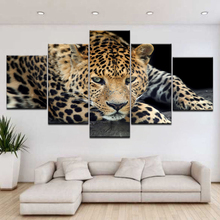 5 Panel/pieces HD Print leopard live animal wall posters Canvas Art Painting For home living room decoration