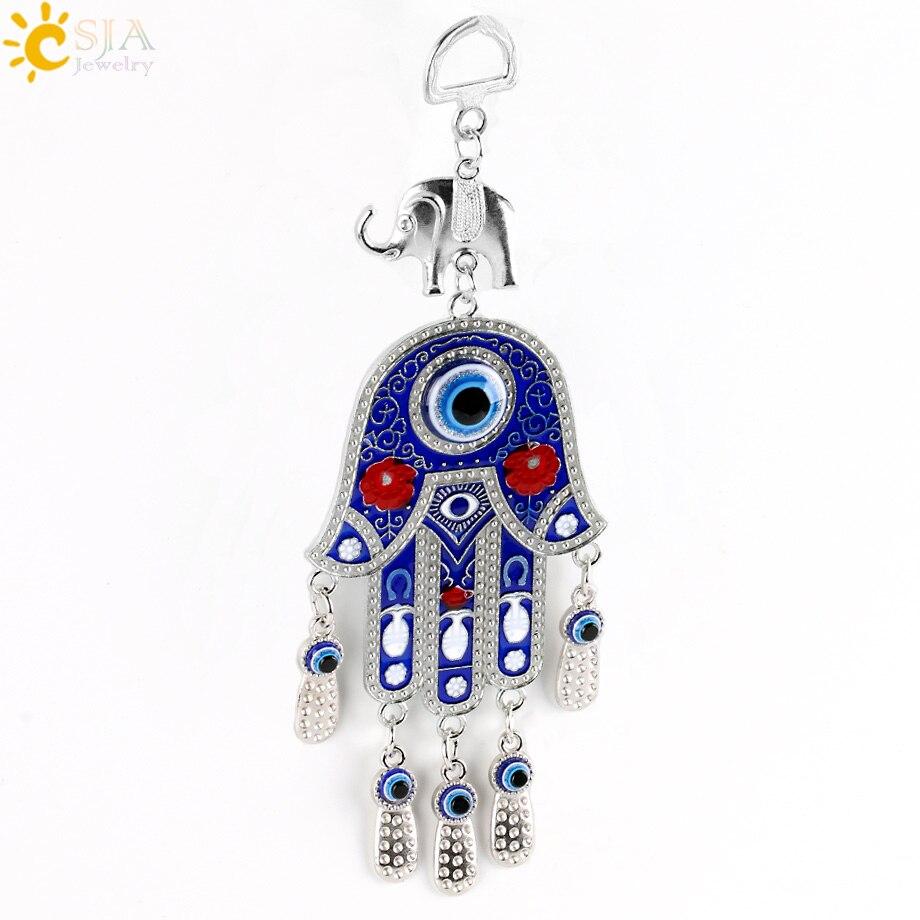 Csja Fatima Hamsa Hand Pendants Turkey Blue Evil Eye Beads