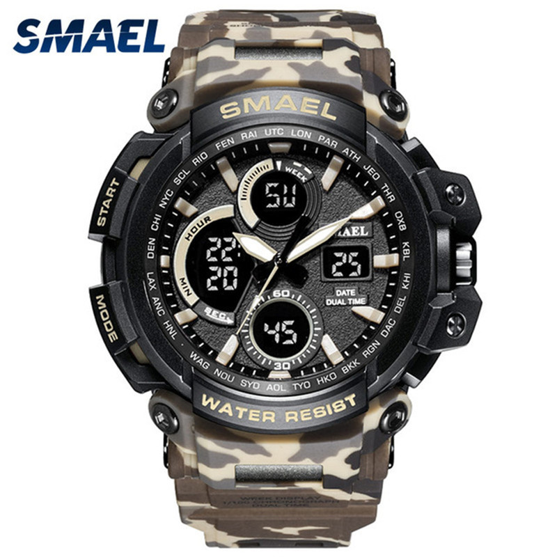 SMAEL Brand Sports Watches Men Dual Time Camouflage Military Watch Men Army LED Digital Wristwatch 50M Waterproof Mens ClockSMAEL Brand Sports Watches Men Dual Time Camouflage Military Watch Men Army LED Digital Wristwatch 50M Waterproof Mens Clock