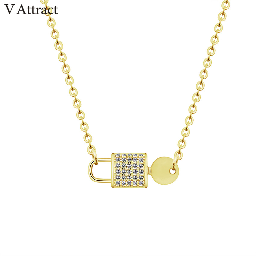 V Attract Graduation Gift 2018 Fashion Jewellery Glisten CZ Key Lock Necklaces Women Stainless Steel Kettingen Voor Vrouwen