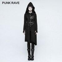 Панк рейв Готический Асимметричный свитер пальто стимпанк рок Harajuku Панк Косплэй куртки ретро Для женщин Повседневное с капюшоном пальто в