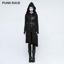 PUNK RAVE Gothic Asymmetric Sweater Coats Steampunk Rock Harajuku Punk Cosplay Jackets Retro Women Casual Hooded Witch Coat