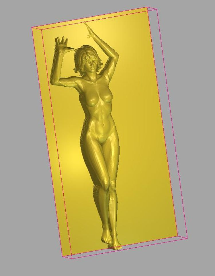 3d Model Relief  For Cnc In STL File Format Naked Maid With Hands