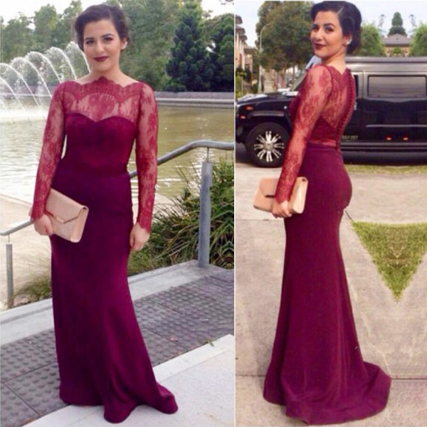 8ecd9bdf4df Charming Mermaid Lace Burgundy Prom Dresses 2018 Long Sleeve Satin Button  Back Evening Dresses New Arrival Party Gowns