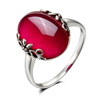 925 Sterling silver Natural Semi precious stones Red corundum ring Vintage Garnet Rings Women jewelry girlfriend gift