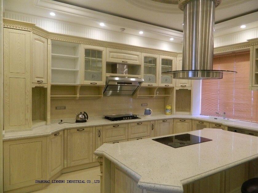 Chêne bois grain pvc armoires de cuisine porte antique blanc (LH-SW062)