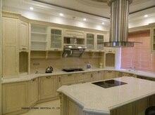 Grano de madera de roble gabinete de cocina del pvc puerta blanco antiguo (LH-SW062)