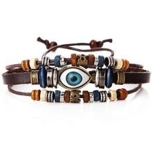 New Ethnic Cuff Bracelet for Men Turkish Evil Eye Charms Bracelets Multilayer Leather Bracelet Beads Adjustable Jewelry Bijour