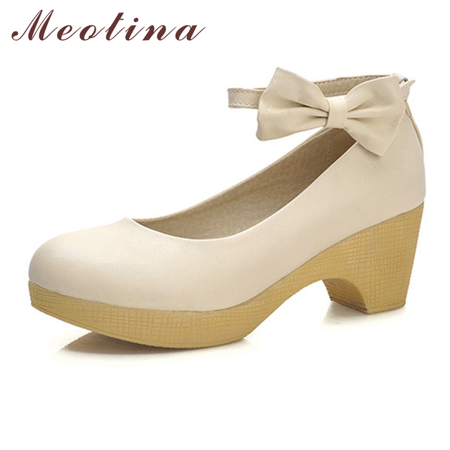 Meotina Discount Beautiful Women Shoes Pumps Autumn Closed Toe Ankle Strap Office Chunky Medium Heels Female Bow Cheap BlueShoes