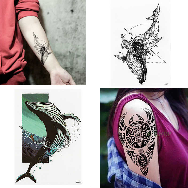 À prova d' água Tatuagens Temporárias Etiqueta legal tatuagens tatuagem falso Tattoo Flash baleia traduzido para as mulheres homens crianças