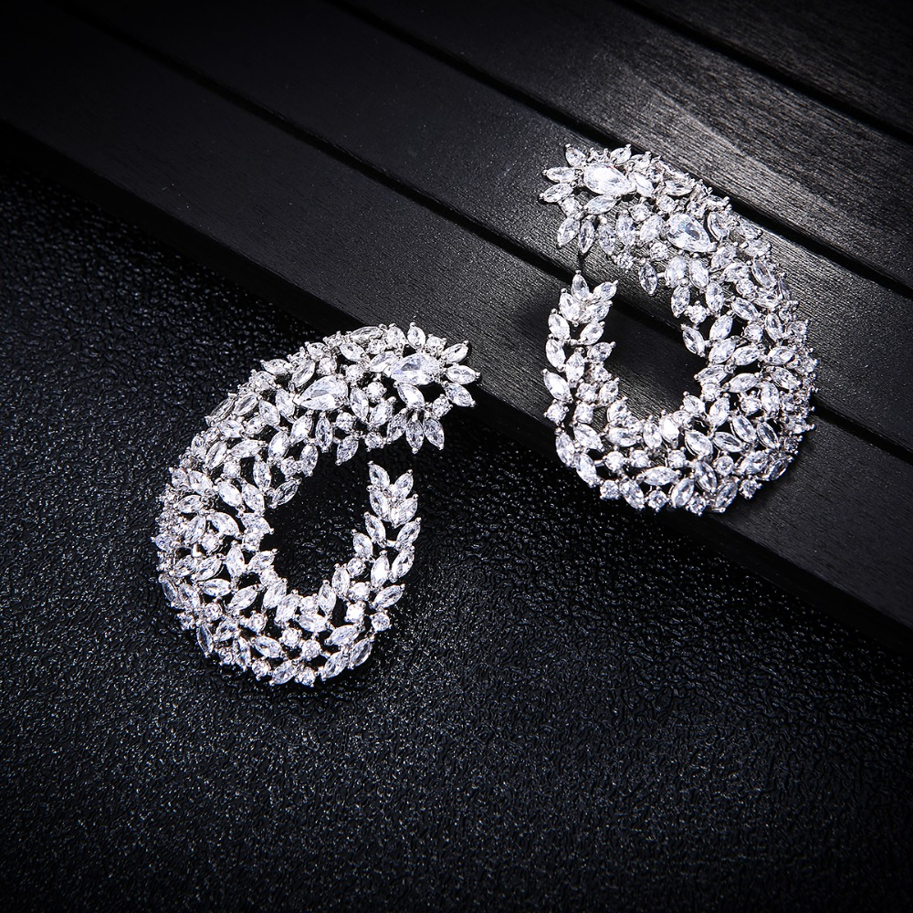 Luxury Popular Geometry Drop Cubic Zirconia 50MM Big Wedding Earring Fashion Jewelry For Women,Bridal Engagement Jewelry E7706