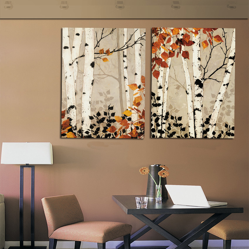 Modern Home Decor Abstract Tree Painting Birch Trees Paintings Pictures Black Brown Art Canvas
