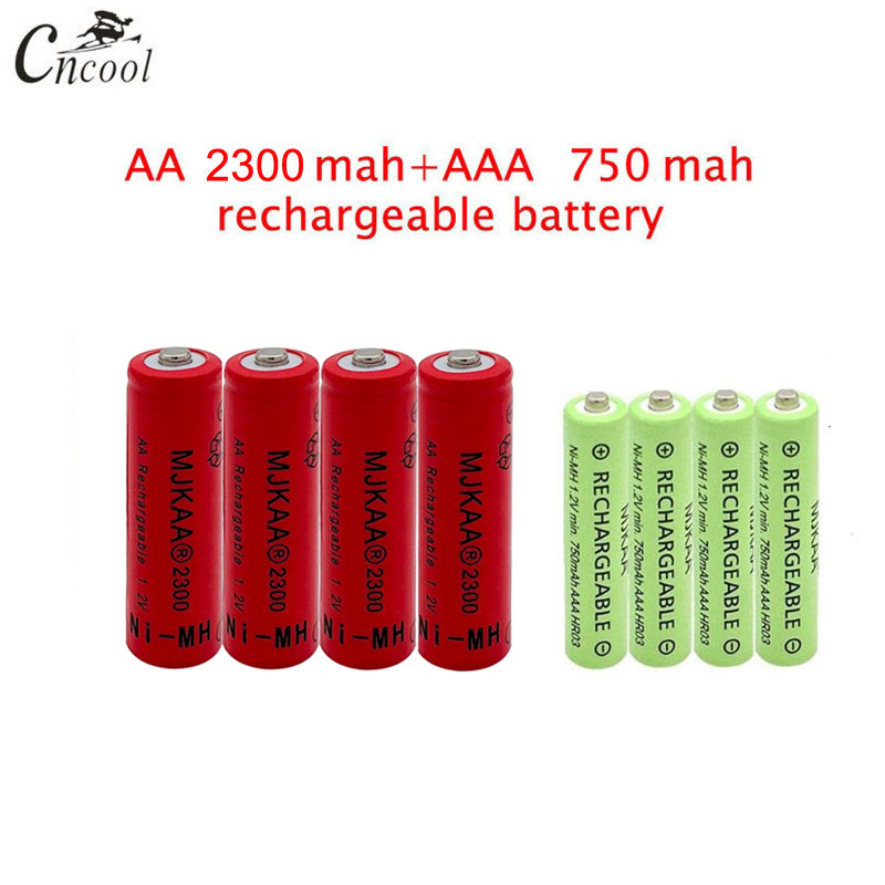 20 pcs red AA 2300mAh Ni-MH Rechargeable Batteries + 20 pcs AAA 750mAh Rechargeable Batteries