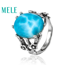 MELE Natural vintage fashion lalimar plum flower sterling silver rings for women,11X15mm big oval mian stone fine jewelry