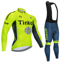 2020 tinkoff Pro Team Cycling Jersey Quick Dry Long Sleeve Jerseys And Cycling Bib Shorts Sets Cycling Clothes 7Color