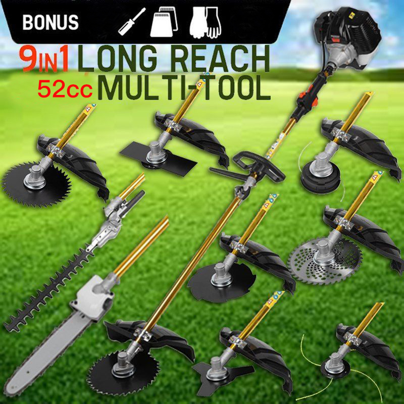 9 in 1 Heavy Duty Grass cutter with 52cc Engine Multifunction petrol cutter Petrol strimmer Tree Pruner