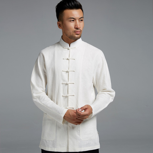 Moda para hombre túnica de algodón tops camisa de manga larga ...