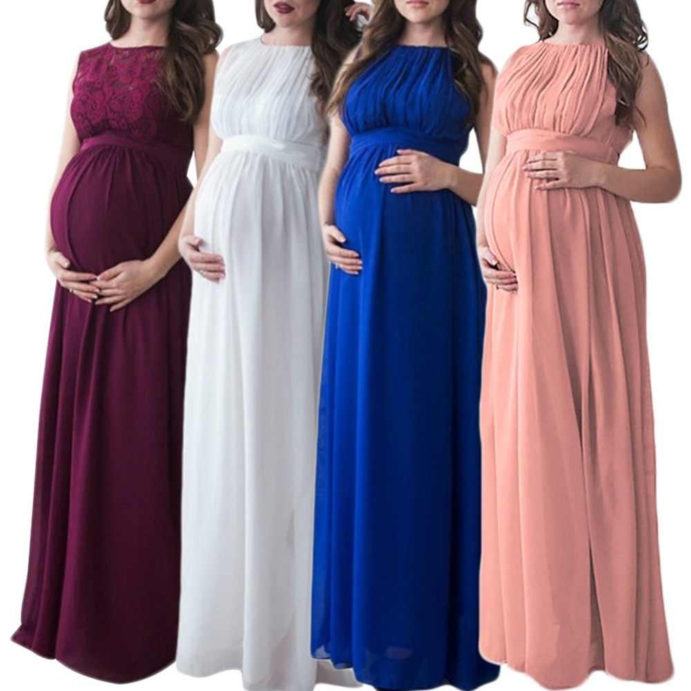 e0aab5d06 Verano de 2019 nuevo embarazo vestido Maxi largo de encaje maternidad  vestido para la sesión fotográfica