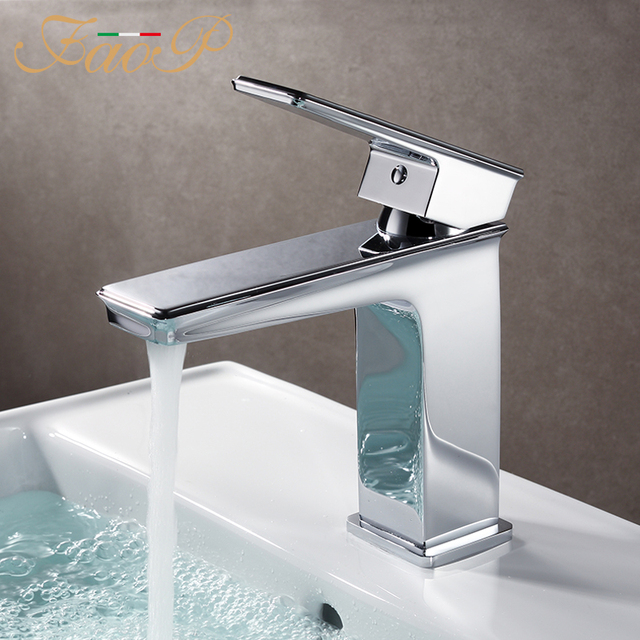 Faop Basin Faucets Chrome Waterfall Bathroom Taps Mixer Sink Faucet Water