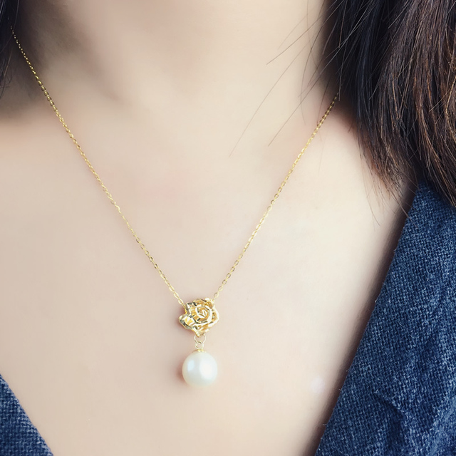 18K Yellow Gold Natural Freshwater Pearl Pendant Necklace