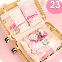 Plastic Transparent Waterproof Travel Bag Travel Bag Bag 23 Pieces Of Clothing Bags Shoes Into