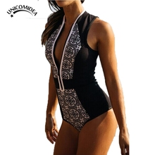 Unicomidea Zipper Front One Piece Swimsuit Thong Monokini Women High Waist Maillot De Bain Swimwear Sexy Bodysuit Bathing Suit