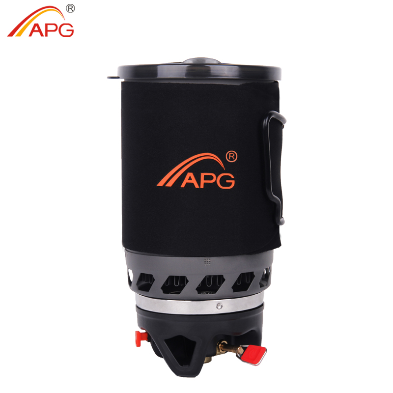 APG Outdoor Portable Cooking System Hiking Camping Stove Heat Exchanger Pot Propane Gas Burners apg 1100ml camping gas stove fires cooking system and portable gas burners
