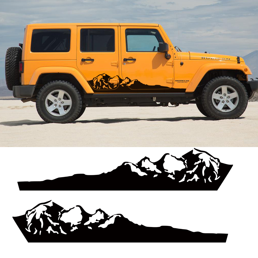 Car Stickers 2pc Side Door Mountains Stripe Graphic Vinyls