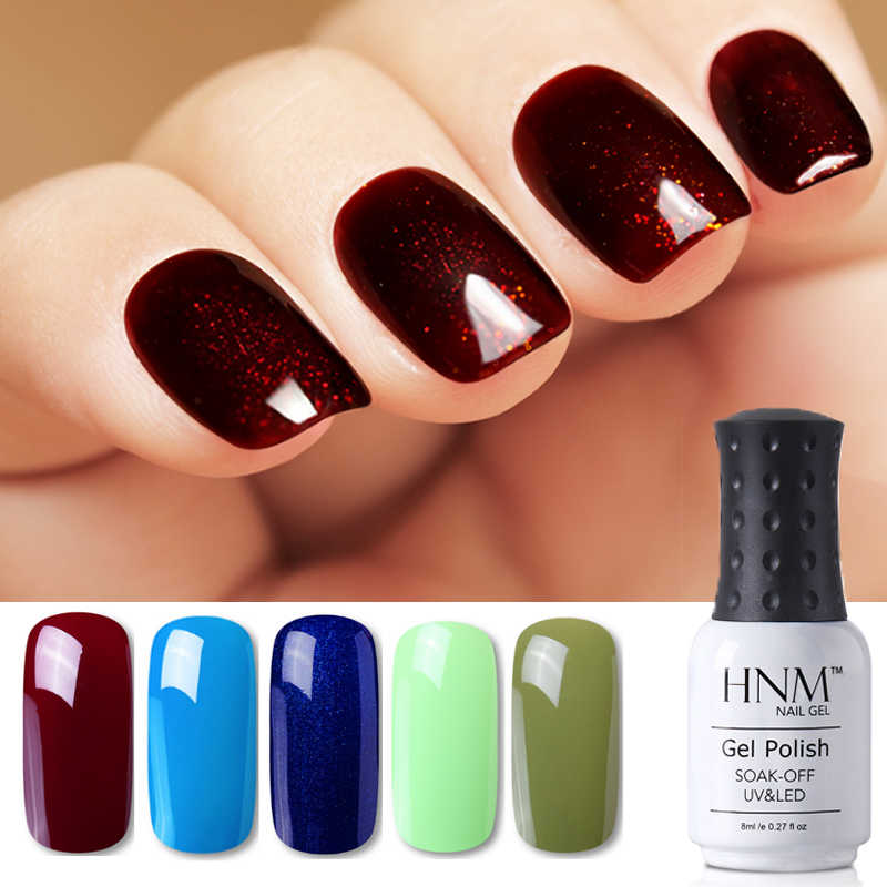 HNM 8 Ml Biru Merah Pink Hijau Kuning Warna Gel Nail Polish UV LED Lamp Semi Permanen Pernis Hybird Dasar top Primer Manikur