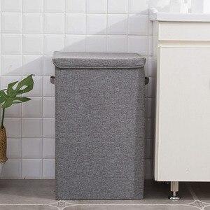 Image 4 - Seau à linge étanche pliable pour le stockage de vêtements sales, bac à linge à usage domestique, panier à linge dangle pliable avec couvercle