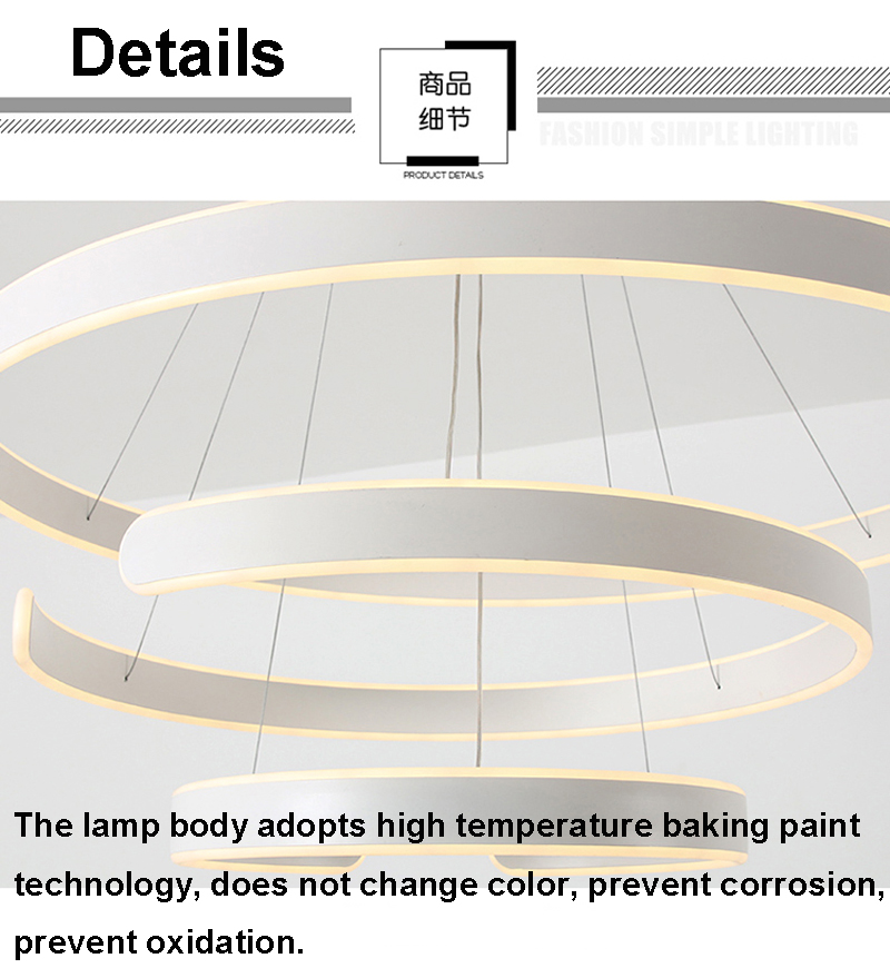 HTB1AlcjgH1YBuNjSszhq6AUsFXaj AC90-264VModern pendant lights for living room dining room Geometry Circle Rings acrylic aluminum body LED Lighting ceiling Lamp