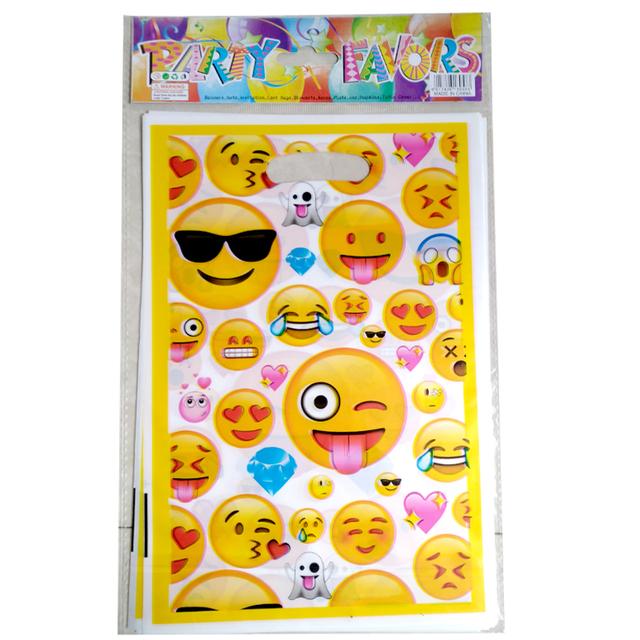 10PCS Happy Birthday Party Cute Emoji Kids Favors Plastic Disposable Gifts Bag Baby Shower Decoration Cookie Candy Loot Bags