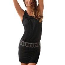 Страусиное Платье женское облегающее черное без рукавов с принтом О-образным вырезом пляжное мини-платье Новинка модное женское летнее платье