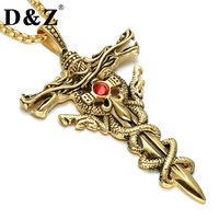 D Z Vintage Dragon Sword Cross Men Necklace Gold Color Stainless Steel Paving Red Rhinestones Cross