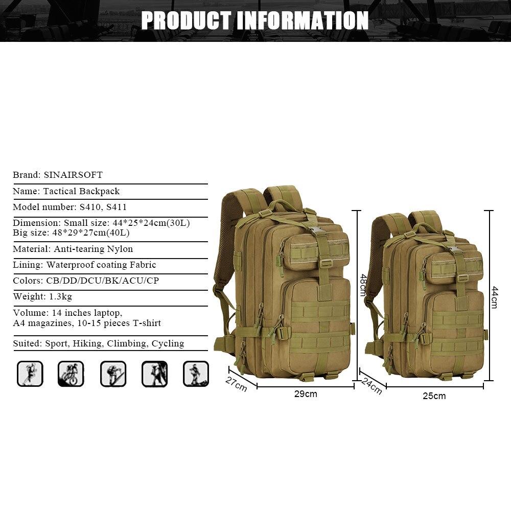 SINAIRSOFT 30L 40L 3P охотничий рыболовный Змеиный тактический рюкзак военный походный рюкзак спортивные туристические рюкзаки S410/S411 - 2
