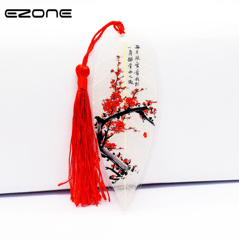 EZONE Elegance Leaves Vein Tassel Bookmark Classical Chinese Style Natural Collectibles Bookmarks Creative Stationery