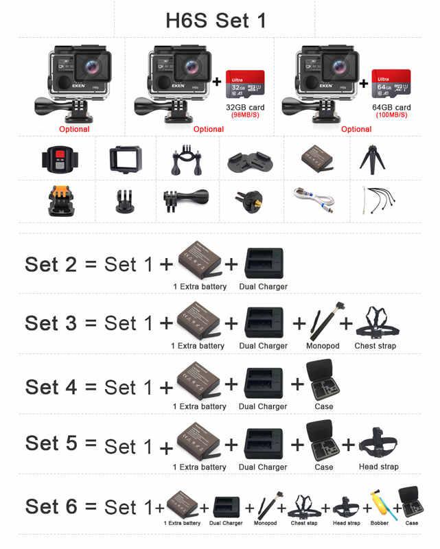 Asli Eken H6S Ultra HD 4 K 30fps Action Camera dengan Ambarella A12 Chip Di Dalam 30 M Tahan Air Eis Pergi olahraga Kamera Pro Cam DVR