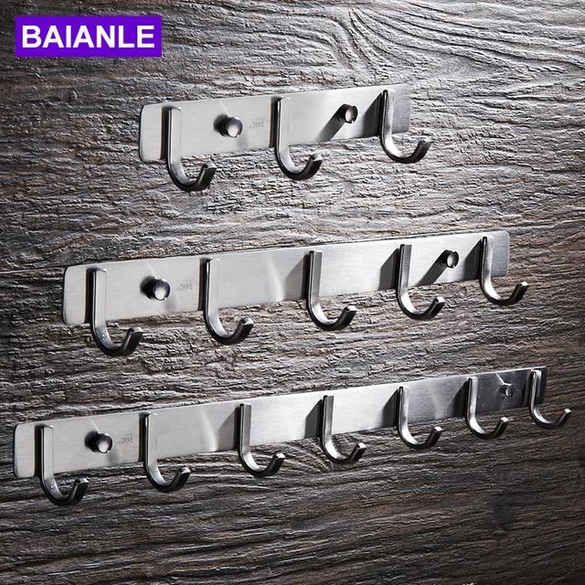 BAIANLE Robe Hooks Stainless Steel Coat Hat Holder Clothes Rack Hook Wall Home Kitchen Hanger Door Decor Bathroom Hardware