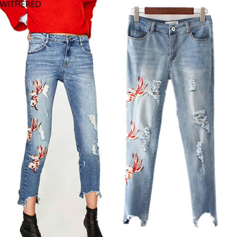 Freeshipping jeans woman jeans woman jeans femme 2017 cotton Goldfish embroidery Personality ankle Hole in jeans