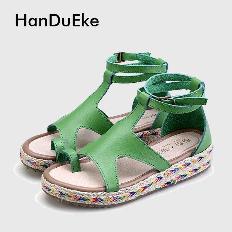 New Gladiator Sandals Woman Real Leather Women s Platform Sandals Shoes Thick Bottom Plus Size Student