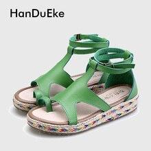 Neue Gladiator Sandalen Frau Echt Leder Frauen Plateau Sandalen Schuhe Dicken Boden Plus Größe Student Schuhe Sandalen