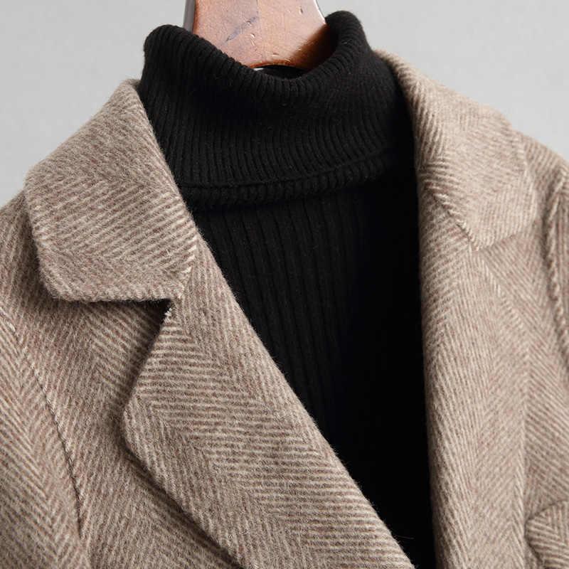 AYUNSUE Модное Длинное стильное пальто из натуральной шерсти женские двухсторонние шерстяные пальто для женщин альпака кашемир осень зима куртка 38048