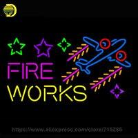 Neon Sign Fire Work Cartoon Stars Plane Neon Light Sign Handmade Neon Bulb Glass Tube Advertise