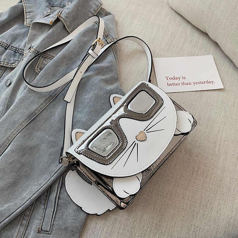 Милый черно-белый дизайн с котом из мультфильма модная дамская сумка через плечо из искусственной кожи Сумка через плечо Повседневная сумочка женская сумка с клапаном Bolsa