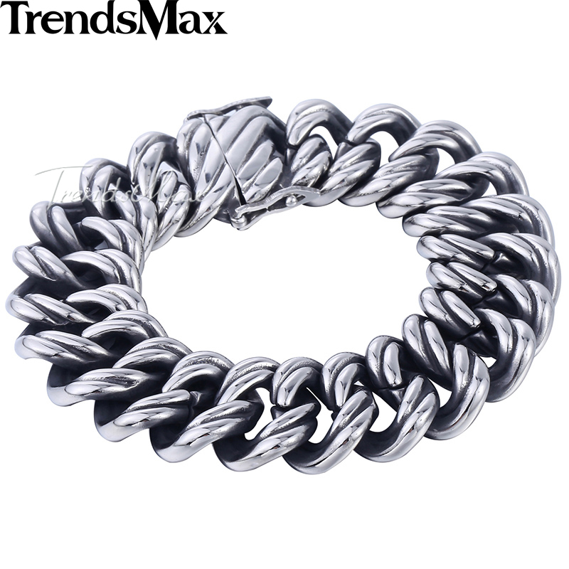 Men's Bracelets Hiphop Big Curb Link Chain Wristband 316L Stainless Steel Bracelet For Male Jewelry Dropshipping 22mm KHB465A chimdou fashion party punk 316l stainless steel mens chain link bracelets wolf bracelets wristband jewelry wholesale gift ab676