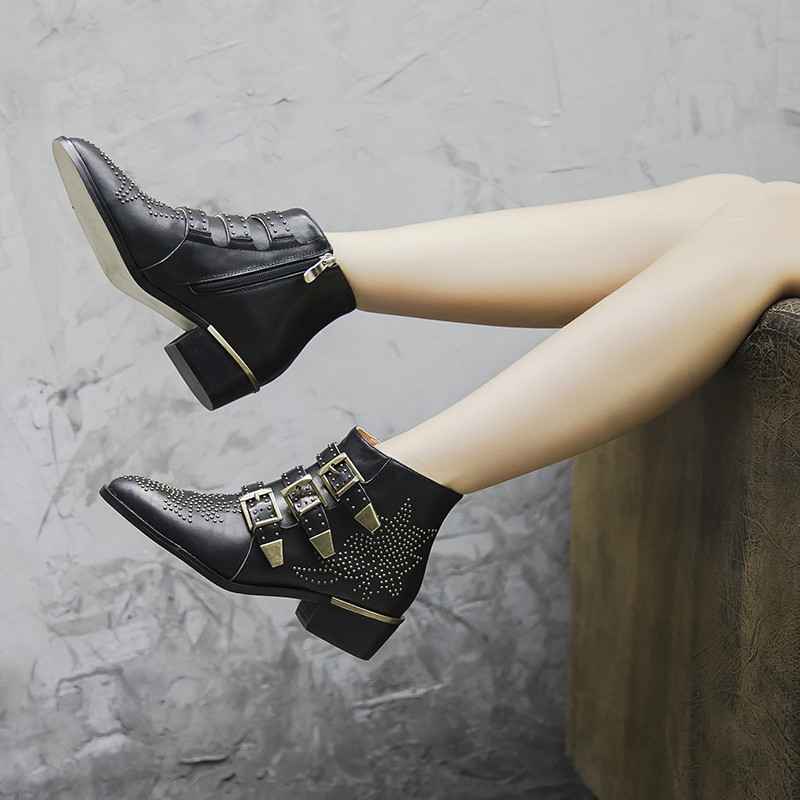 Fashion Punk Style Motorcycle Boots Susanna Studded Buckle Ankle Boots With Metal Decor Rivet Women Booties - 2