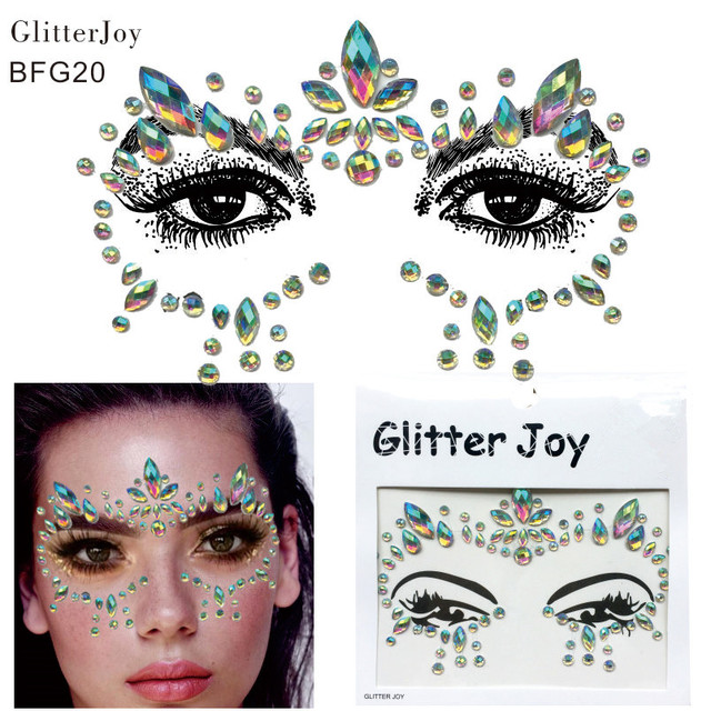 BFG20 1Pc Adhesive Resin Face jewels Gems Temporary Tattoo Face Jewels  Festival Party Body Gems Rhinestone Sticker 23a61e8c6349