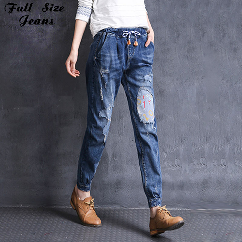 ФОТО Boyfriend Elastic Waist Patchworked Destroyed Loose Harem Jeans Tapered Jeans Vintage Plus Size Denim Trousers 4Xl 6Xl 7Xl 2Xl S