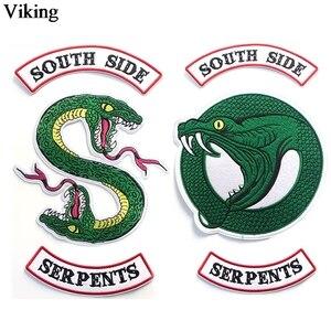 Ривердейл саутсайд змеи патч наклейки зеленая змея железа на патчи DIY Прохладный шитье вышитые патчи для одежды G0082