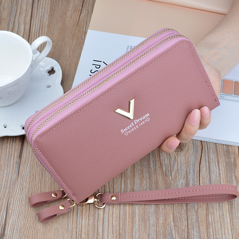 Wristband Double Zipper Women Long Wallet Large Capacity Wallets Female Lady Purses Phone Pocket Card Holder Cartera Mujer.